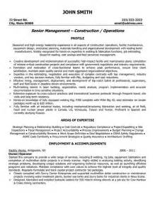 Construction Operations Manager Sle Resume by Senior Manager Resume Sle Template