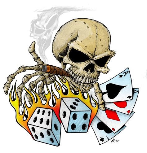 skull cards tattoo designs skull dice and cards picture