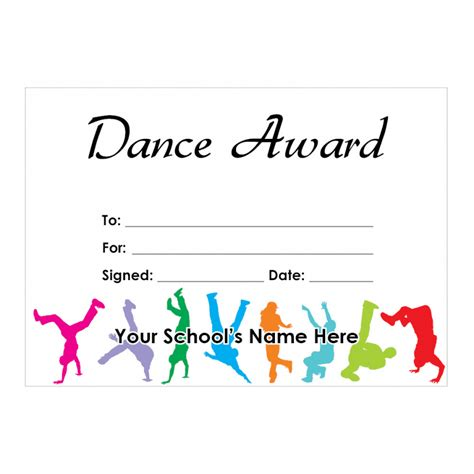 templates for dance certificates dance certificate set 2 school stickers for teachers