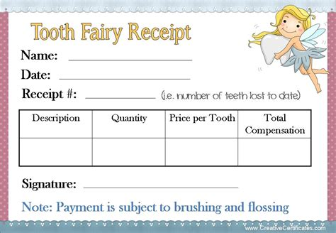 tooth receipt template easy tooth ideas tips for parents free printables