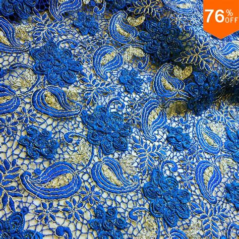 complex luxury lace fabric voile lace high quality fabric 3d leaf sewing blue italy sale cotton