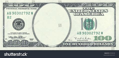 blank hundred dollar bill with clipping stock photo