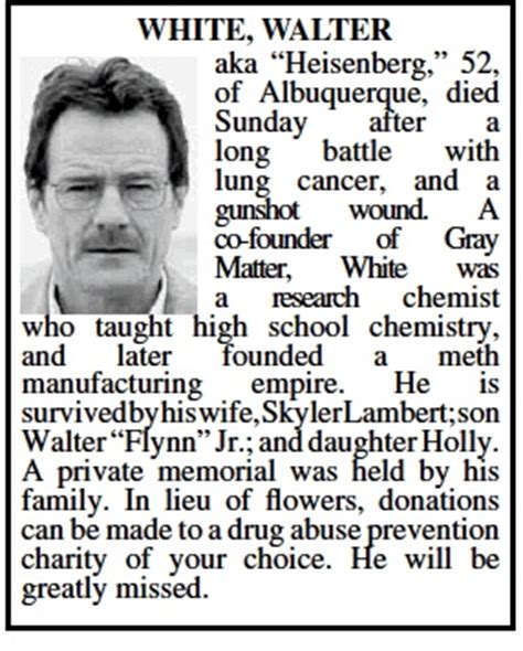 oaoa sections death notices breaking bad walter white obit placed in albuquerque