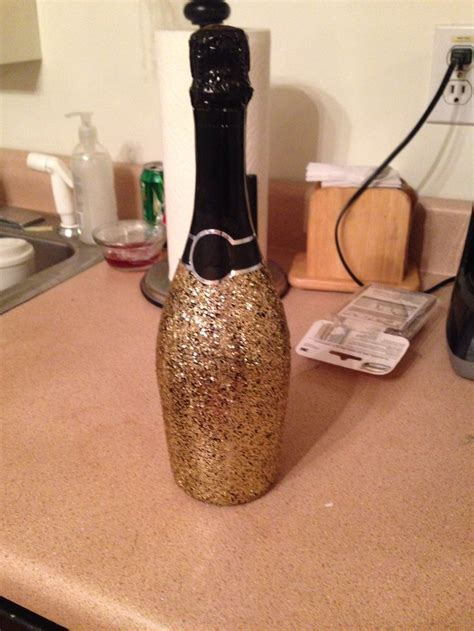 Mod podge glitter champagne bottle   Craft Ideas