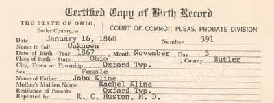 Butler County Ohio Birth Records Rooted In Elizabeth The Hawley Connection