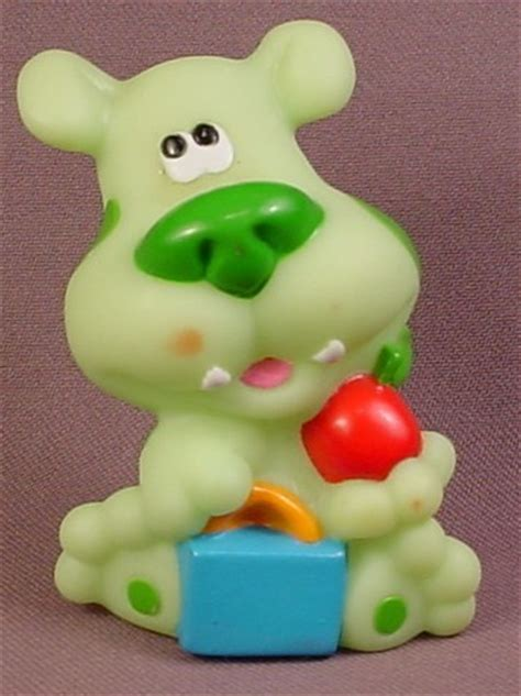 blues clues green blue s clues green puppy with book bag apple figure 3 inches viacom 2000