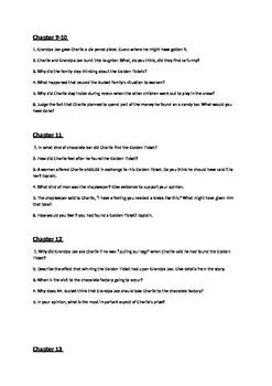Charlie and the chocolate factory questions based on each