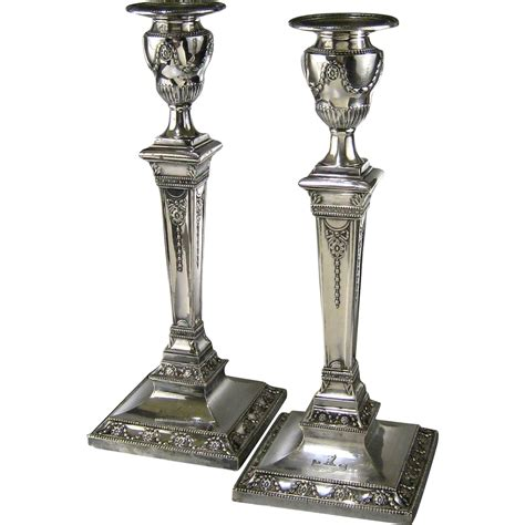 silver candlestick by loofs adam english adam style silver plate candlesticks c 1850