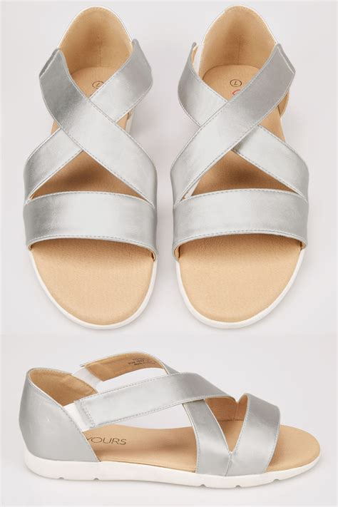 Sale Foil Angka Big Size Silver Gold metallic silver cross sandals in true eee fit