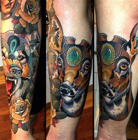 sciencealert tattoo cream new school style colored leg tattoo of saint deer with