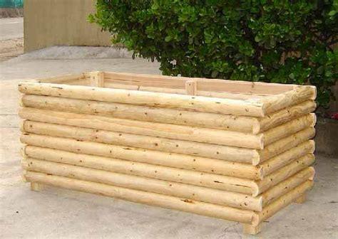 log wood rectangle planter