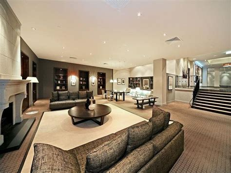 open plan living room using beige colours with carpet