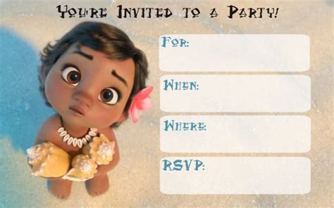 Moana Card Template by Moana Invitation Free Theruntime