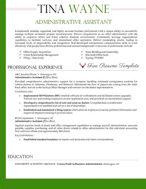 Resume Template For Administrative Assistant by Administrative Assistant Resume Template Resume Templates