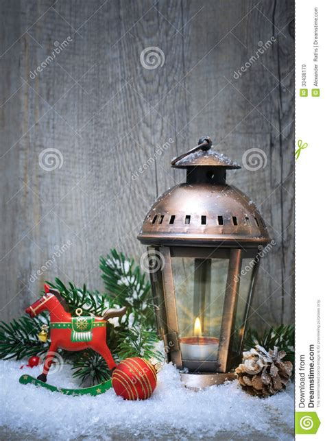 christmas lantern   snow stock photo image