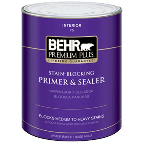 behr premium plus 1 qt stain blocking interior primer sealer 07504 the home depot