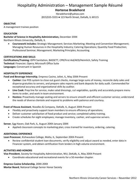 resume format doc for hotel management hospitality administration management sle