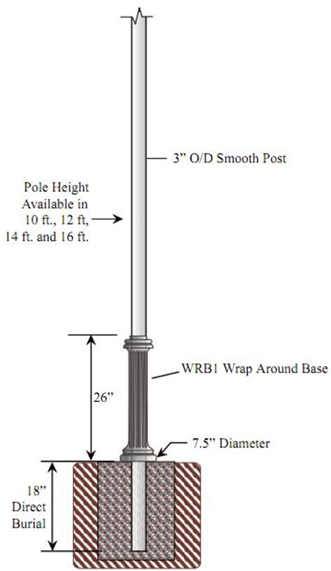 light pole dimensions special lite lighting 3 inch diameter smooth cast