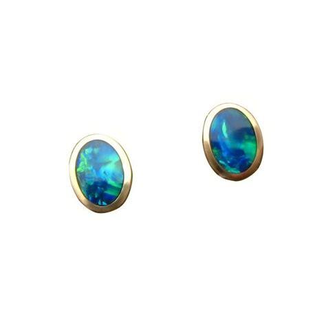 green opal earrings opal earrings 14k gold studs oval green blue gems flashopal