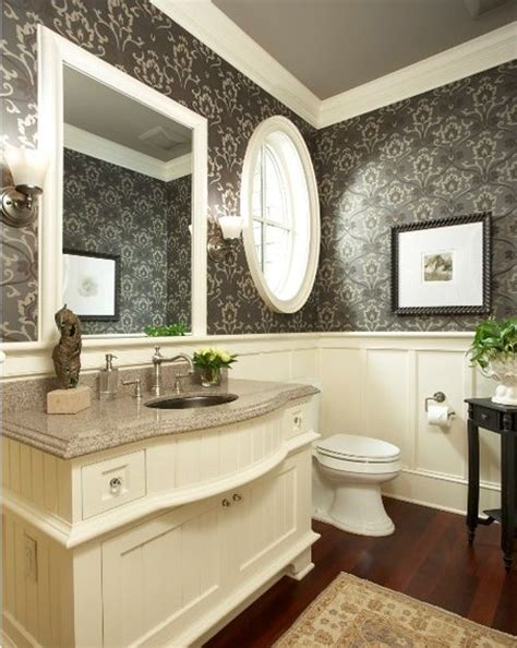 traditional bathroom wallpaper wallpaper with wainscoting guest bath remodel project