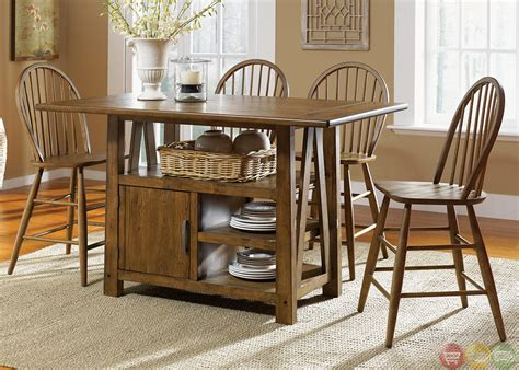 farm table dining room set farmhouse counter height storage table casual dining set
