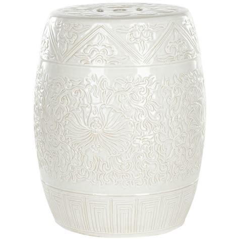 Ceramic Barrel Garden Stool by Shop Safavieh 18 5 In White Ceramic Barrel Garden Stool At