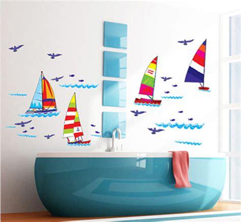 Wall Sticker Dekorasi Kamar Mandi Wastafel Stiker Dekorasi Dinding removable berlayar perahu stiker dinding dekorasi rumah decal untuk kamar mandi anak anak kamar