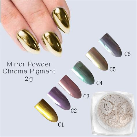 Gold Mirror Chrome Powder Nail Kuku Chrome Metal Korea Nail 2g mirror powder gold chrome pigment powder aluminium
