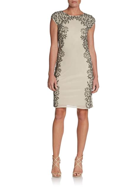 gold beaded cocktail dress papell beaded cocktail dress in beige chagne