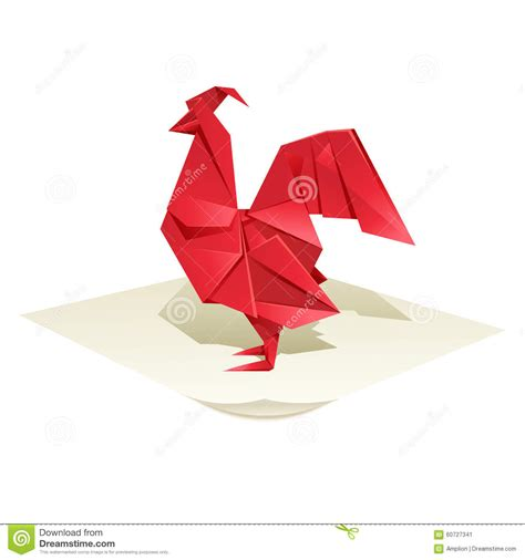 Origami Chicken - origami rooster stock vector image 60727341