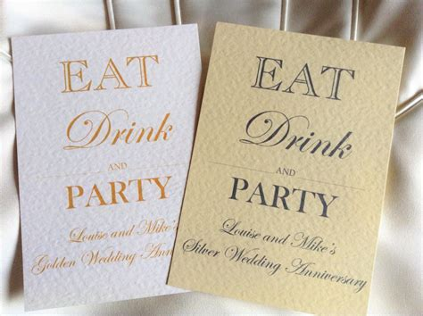 Eat Drink and Party Wedding Anniversary Invitations