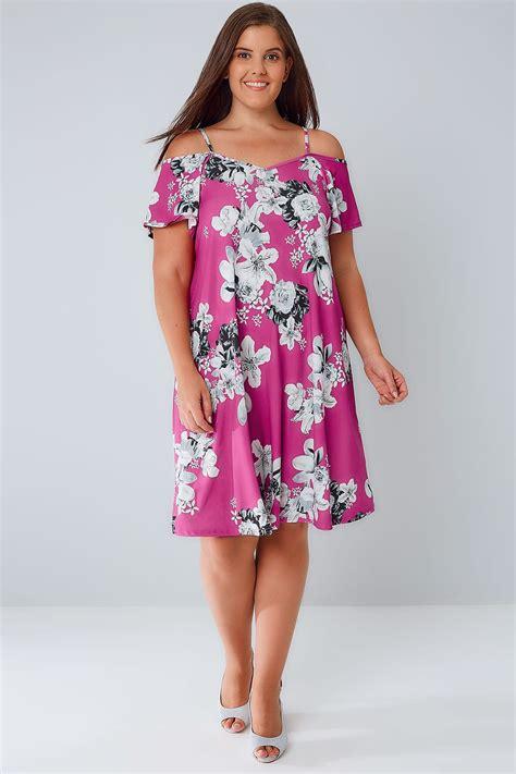 Grey Flower Cold Shoulder Dress Size S M L pink grey floral cold shoulder jersey cami dress with waist tie plus size 16 to 36