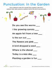 punctuation in the garden worksheet education com