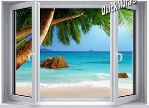 Peelable Wall Murals Secluded Beach Window 1 Piece Canvas Peel Amp Stick Wall Mural