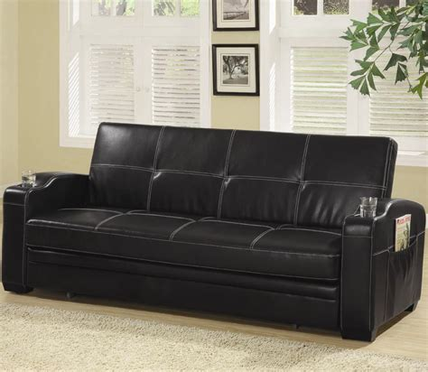 Leather Sofa Bed With Storage Black Faux Leather Sofa Bed With Storage And Cup Holders