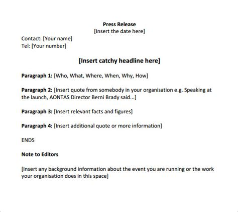 free press release template sle press release template 13 free documents in pdf