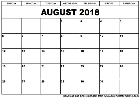printable calendar september 2017 to august 2018 august 2018 calendar monthly calendar 2017