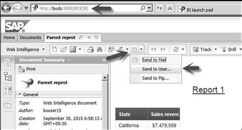 tutorial web intelligence rich client sap web intelligence sending documents