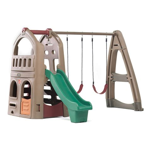 step 2 swing set with slide naturally playful playhouse climber swing extension