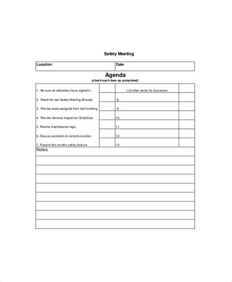 monthly safety meeting template safety meeting template images