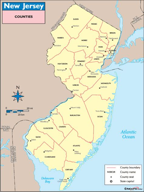 nj counties map new jersey county map images