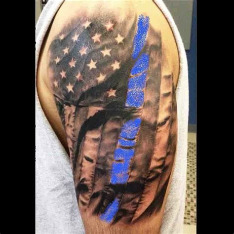 cross american flag tattoo leo blue line tattoos