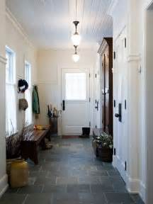 mud room hall entry beadboard on walls and ceiling slate tile schoolhouse lights extra
