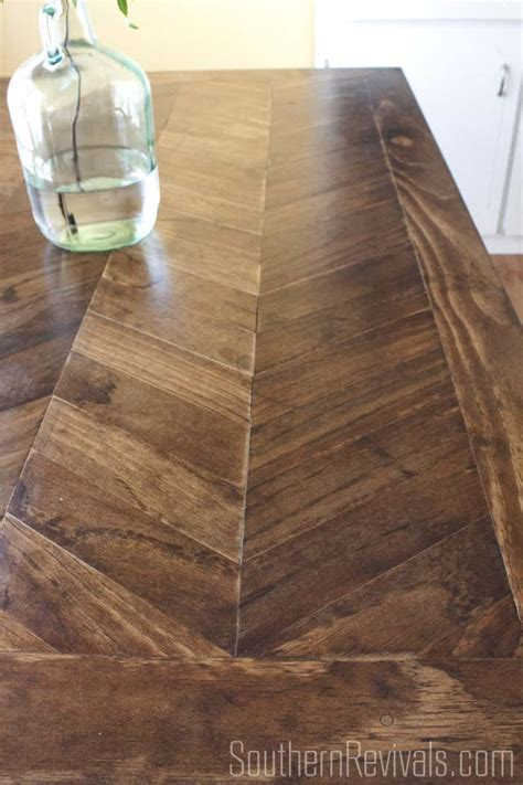 From Tile Top to Herringbone Table Makeover   Pt. 2   Southern Revivals