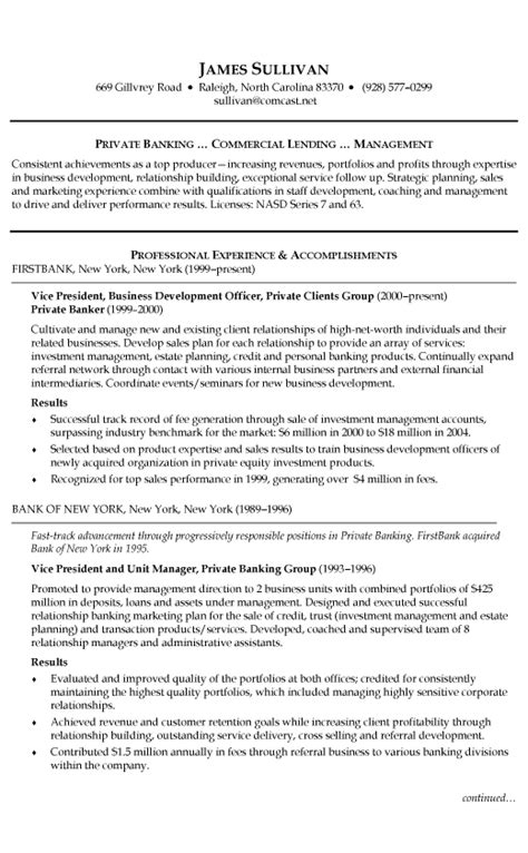 Resume Sles For Banking Professionals Banking Resume Exle