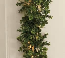indoor outdoor lit boxwood garland pottery barn