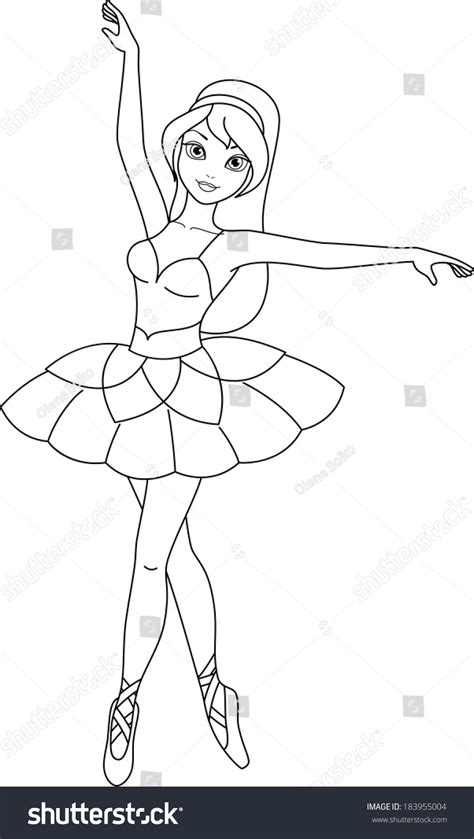 cute ballerina coloring pages ballerina coloring page stock vector 183955004 shutterstock
