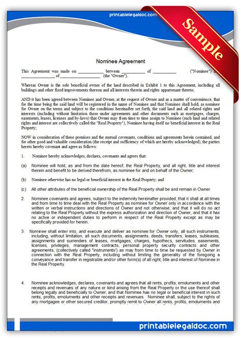 Free Printable Nominee Agreement Form Generic Nominee Agreement Template