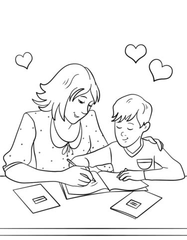 Homework Coloring Sheets by Helping With Homework Coloring Page Free