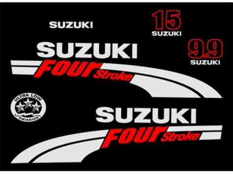 Suzuki Outboard Stickers Df 9 9 15 Hp Four Stroke 2004 Set Eshop Stickers